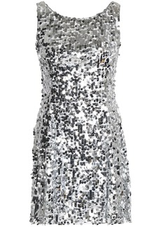 Dolce & Gabbana Woman Fluted Sequined Tulle Mini Dress Silver