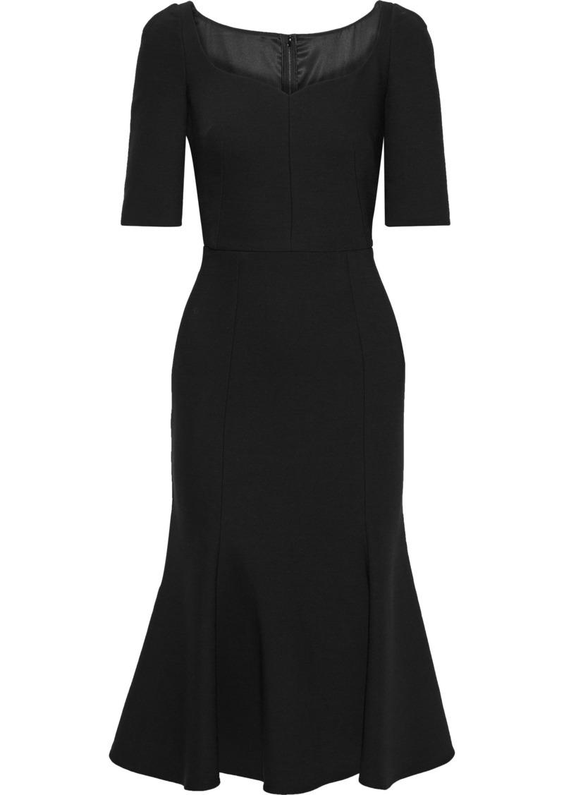 Dolce & Gabbana Woman Fluted Wool-blend Cady Midi Dress Black