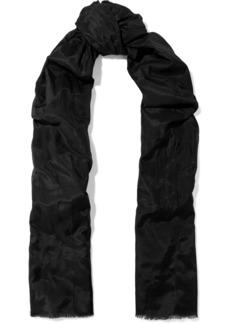Dolce & Gabbana Woman Frayed Cotton And Silk-blend Poplin Scarf Black