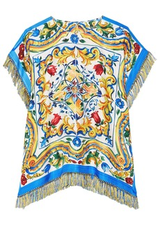 Dolce & Gabbana Woman Fringe-trimmed Printed Silk-blend Twill Top Marigold