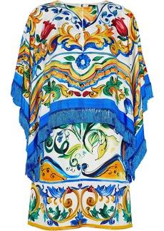 Dolce & Gabbana Woman Fringed Layered Silk-blend Twill Mini Dress Cobalt Blue