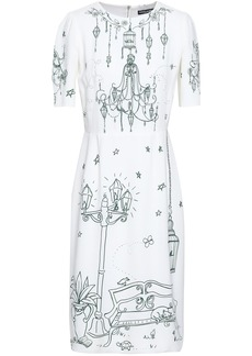Dolce & Gabbana Woman Gathered Printed Crepe Dress White