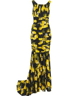 Dolce & Gabbana Woman Gathered Printed Silk-blend Satin Gown Black