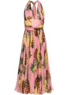 Dolce & Gabbana Woman Gathered Printed Silk-chiffon Halterneck Midi Dress Baby Pink