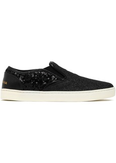 Dolce & Gabbana Woman Glittered Leather Slip-on Sneakers Black