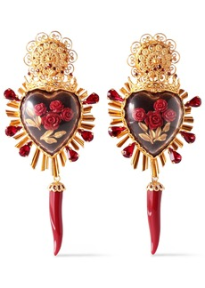 Dolce & Gabbana Woman Gold-tone Crystal And Resin Clip Earrings Gold