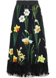 Dolce & Gabbana Woman Guipure Lace-trimmed Floral-print Crepe Midi Skirt Black