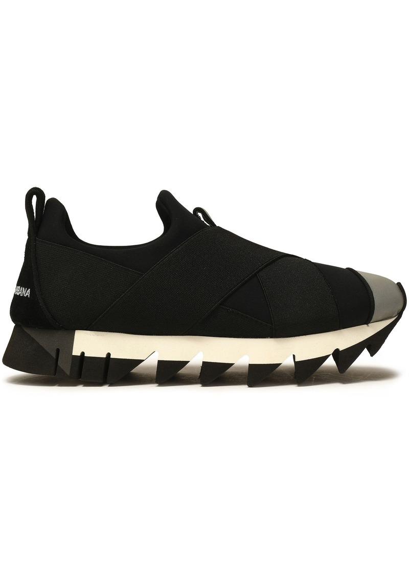 Dolce & Gabbana Woman Ibiza Suede-trimmed Neon Neoprene Slip-on Sneakers Black