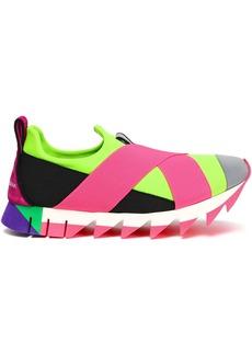 Dolce & Gabbana Woman Ibiza Suede-trimmed Neon Neoprene Slip-on Sneakers Pink