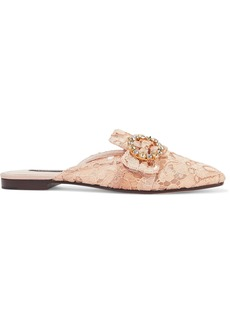 Dolce & Gabbana Woman Jackie Buckled Corded Lace Slippers Peach