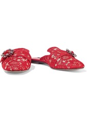 Dolce & Gabbana Woman Jackie Buckled Corded Lace Slippers Red