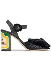 Dolce & Gabbana Woman Keira Bow-embellished Woven Straw And Raffia Sandals Black
