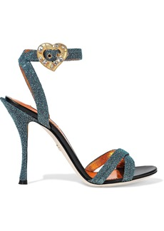 Dolce & Gabbana Woman Keira Buckle-detailed Lurex Sandals Teal