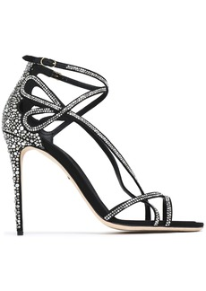 Dolce & Gabbana Woman Keira Crystal-embellished Cutout Satin Sandals Black