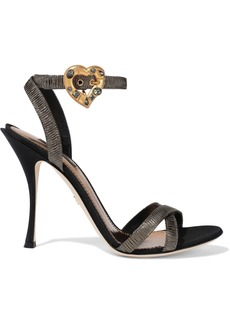 Dolce & Gabbana Woman Keira Crystal-embellished Pleated Lamé Sandals Gold