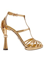 Dolce & Gabbana Woman Keira Embellished Mirrored-leather Sandals Gold