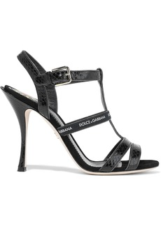 Dolce & Gabbana Woman Keira Monogram-trimmed Ayers Sandals Black