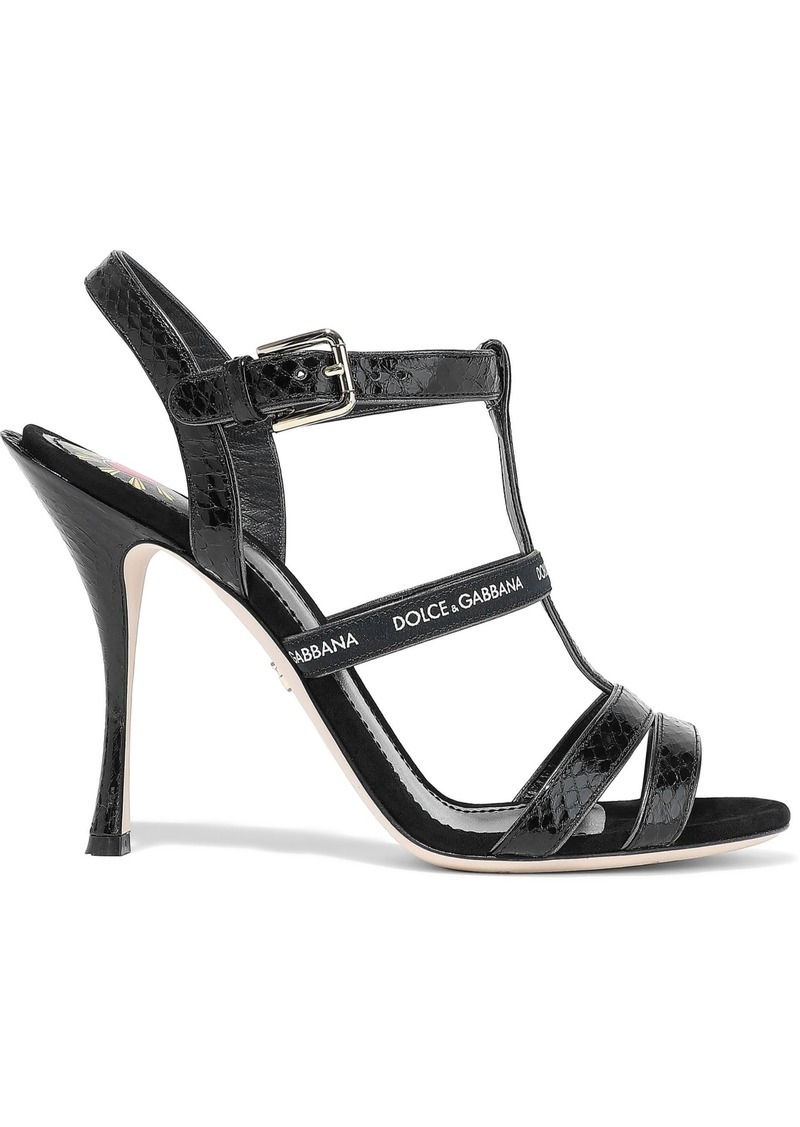 Dolce & Gabbana Woman Keira Monogram-trimmed Ayers Sandals Black