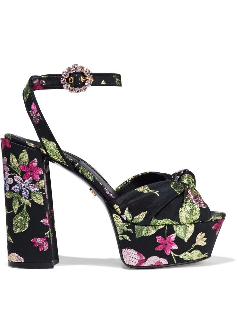 Dolce & Gabbana Woman Knotted Metallic Brocade Platform Sandals Black