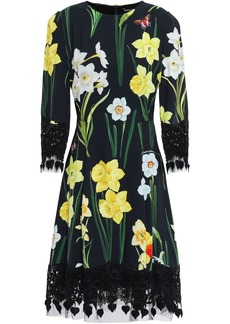 Dolce & Gabbana Woman Lace And Tulle-trimmed Floral-print Crepe Dress Black