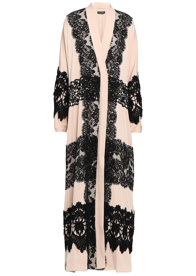 Dolce & Gabbana Woman Lace-appliquéd Silk-blend Crepe De Chine Kimono Neutral