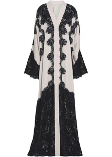 Dolce & Gabbana Woman Lace-appliquéd Silk-blend Crepe Gown Black