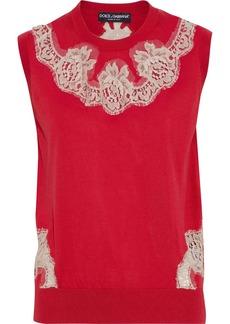 Dolce & Gabbana Woman Lace-appliquéd Silk Sweater Red