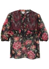 Dolce & Gabbana Woman Lace-paneled Floral-print Silk-blend Georgette Blouse Black