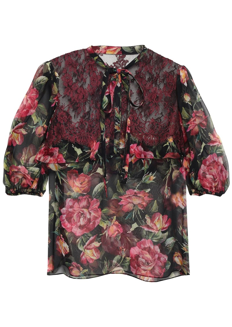 Dolce & Gabbana Woman Lace-paneled Floral-print Silk-blend Georgette Blouse Black