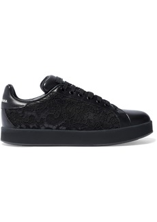 Dolce & Gabbana Woman Lace-paneled Leather Sneakers Black