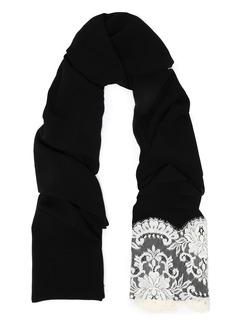 Dolce & Gabbana Woman Lace-paneled Silk-blend Gauze Scarf Black