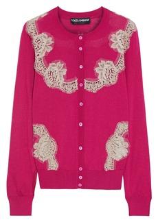 Dolce & Gabbana Woman Lace-paneled Silk Cardigan Fuchsia