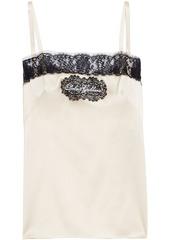 Dolce & Gabbana Woman Lace-trimmed Appliquéd Silk-blend Satin Camisole Cream