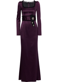 Dolce & Gabbana Woman Lace-trimmed Embellished Stretch-silk Satin Gown Purple