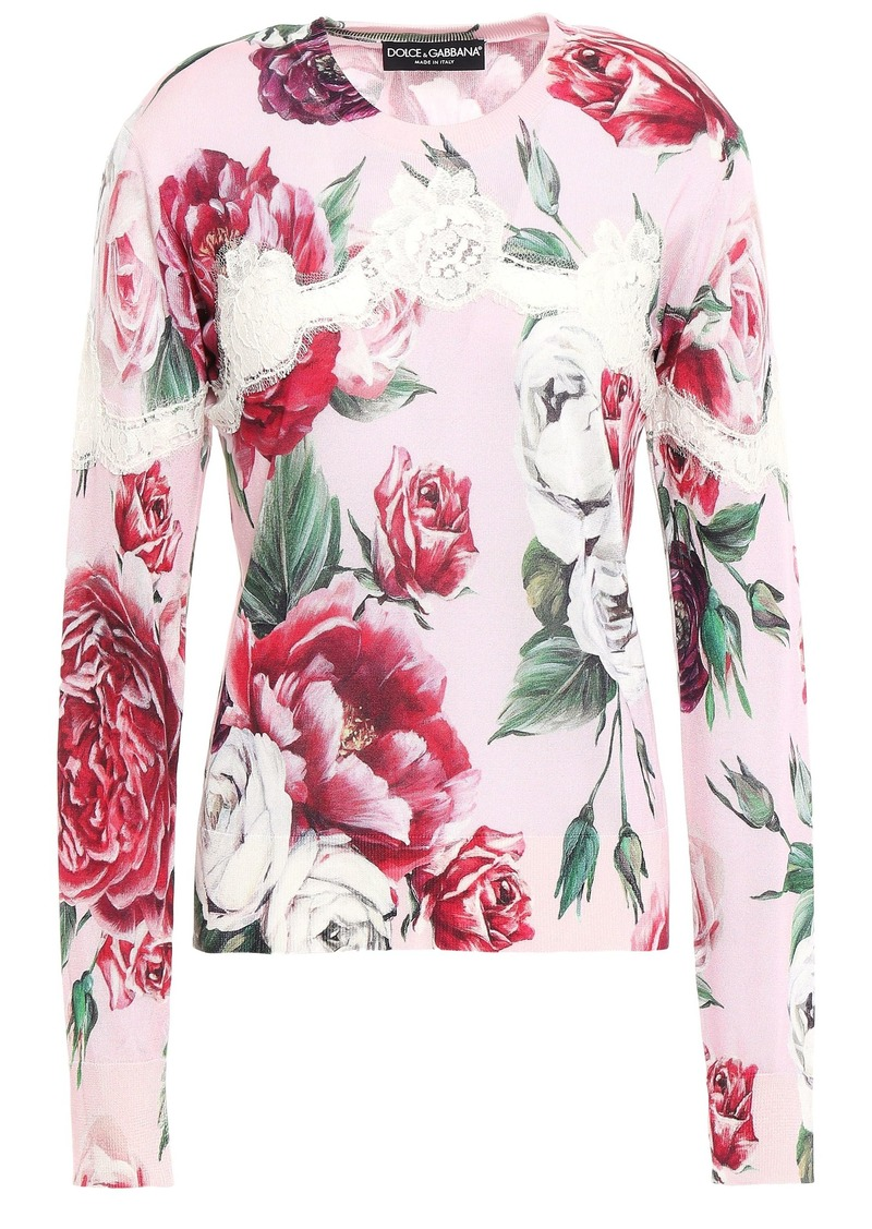 Dolce & Gabbana Woman Lace-trimmed Floral-print Silk-blend Sweater Baby Pink