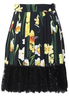 Dolce & Gabbana Woman Lace-trimmed Pleated Printed Crepe Mini Skirt Black
