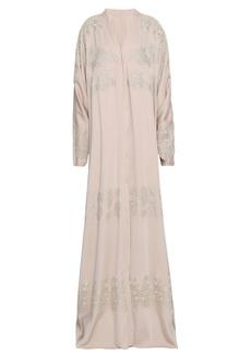 Dolce & Gabbana Woman Lace-trimmed Silk-blend Kimono Neutral