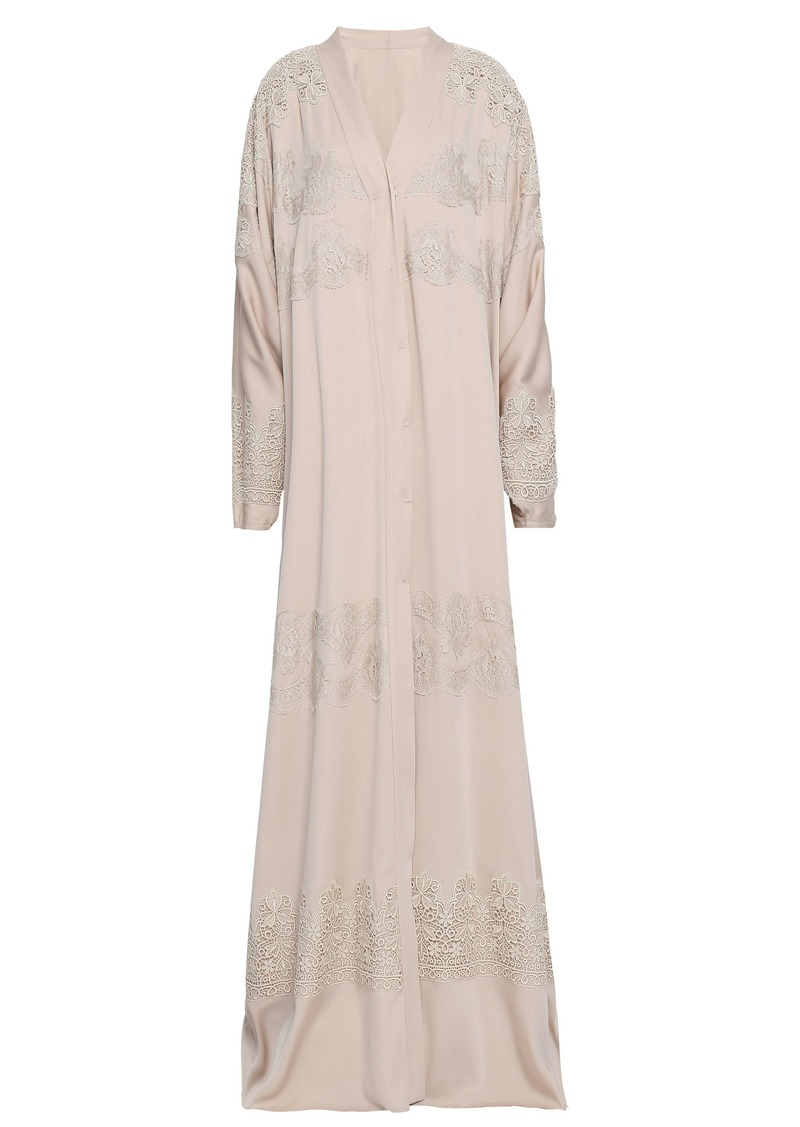 Dolce & Gabbana Woman Lace-trimmed Silk-blend Kimono Neutral
