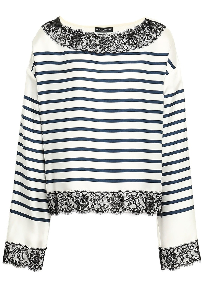 Dolce & Gabbana Woman Lace-trimmed Striped Silk-twill Top White