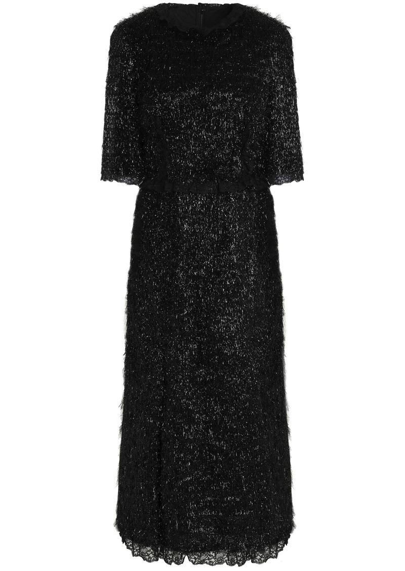 Dolce & Gabbana Woman Lace-trimmed Tinsel Midi Dress Black