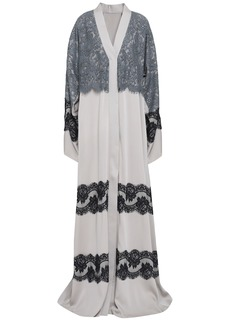 Dolce & Gabbana Woman Layered Lace-paneled Silk-blend Kimono Light Gray