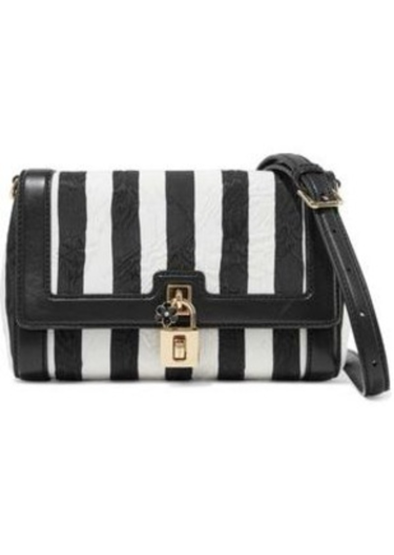 Dolce & Gabbana Woman Leather-trimmed Striped Jacquard Shoulder Bag Black