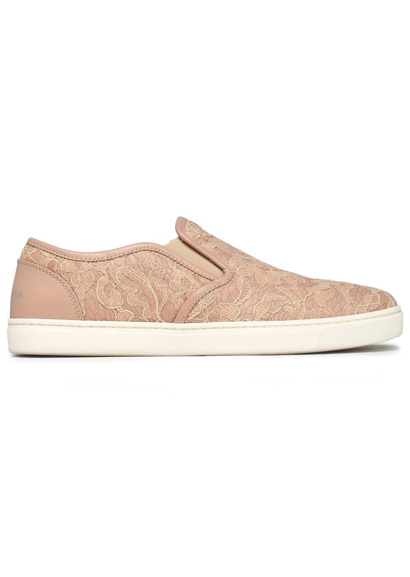 Dolce & Gabbana Woman Leather-trimmed Corded Lace Slip-on Sneakers Blush