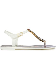 Dolce & Gabbana Woman Leather-trimmed Crystal-embellished Rubber Sandals White