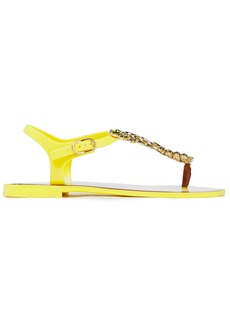 Dolce & Gabbana Woman Leather-trimmed Crystal-embellished Rubber Sandals Yellow