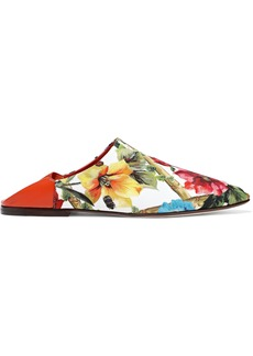 Dolce & Gabbana Woman Leather-trimmed Floral-print Crepe Slippers White