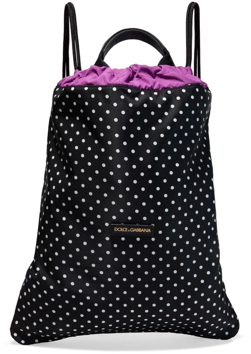 Dolce & Gabbana Woman Leather-trimmed Polka-dot Shell Backpack Black