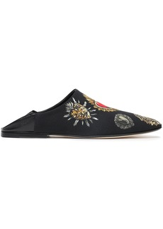 Dolce & Gabbana Woman Leather-trimmed Printed Crepe Slippers Black