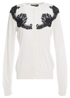 Dolce & Gabbana Woman Leavers Lace-paneled Silk Cardigan Off-white