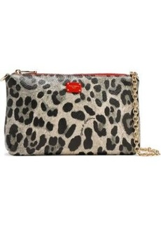 Dolce & Gabbana Woman Leopard-print Coated Textured-leather Clutch Animal Print
